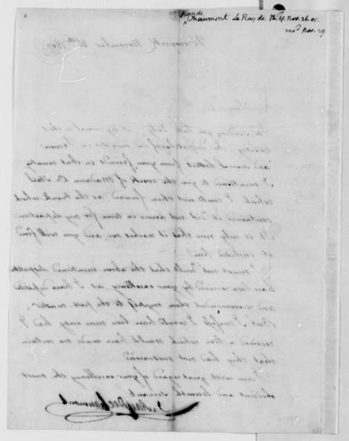 Le Ray de Chaumont to Thomas Jefferson, November 26, 1807