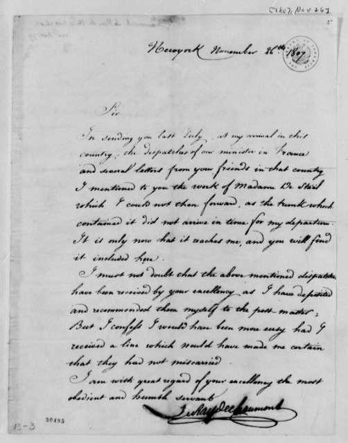 Le Ray de Chaumont to Thomas Jefferson, November 26, 1807