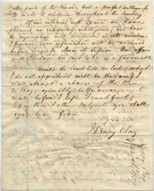 Letter from Henry Clay to Harry Innes