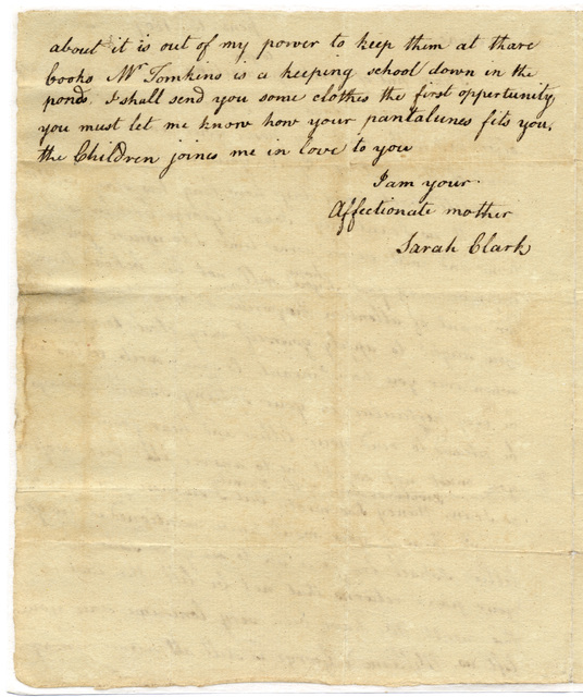Letter from Sarah Hite Clark to Isaac Clark
