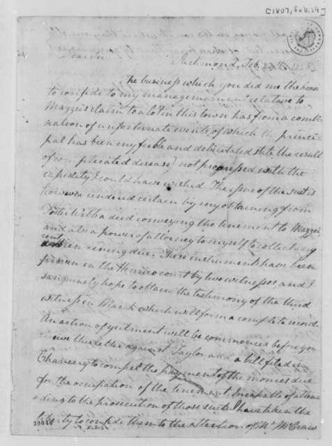 Lewis Harvie to Thomas Jefferson, February 24, 1807