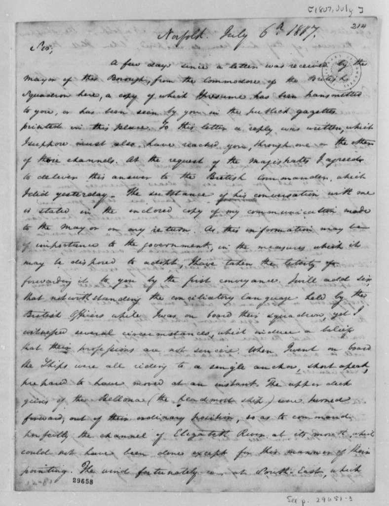 Littleton Waller Tazewell to Thomas Jefferson, July 6, 1807