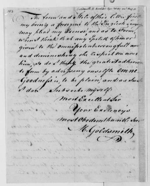 M. Goldsmith to Thomas Jefferson, April 20, 1807