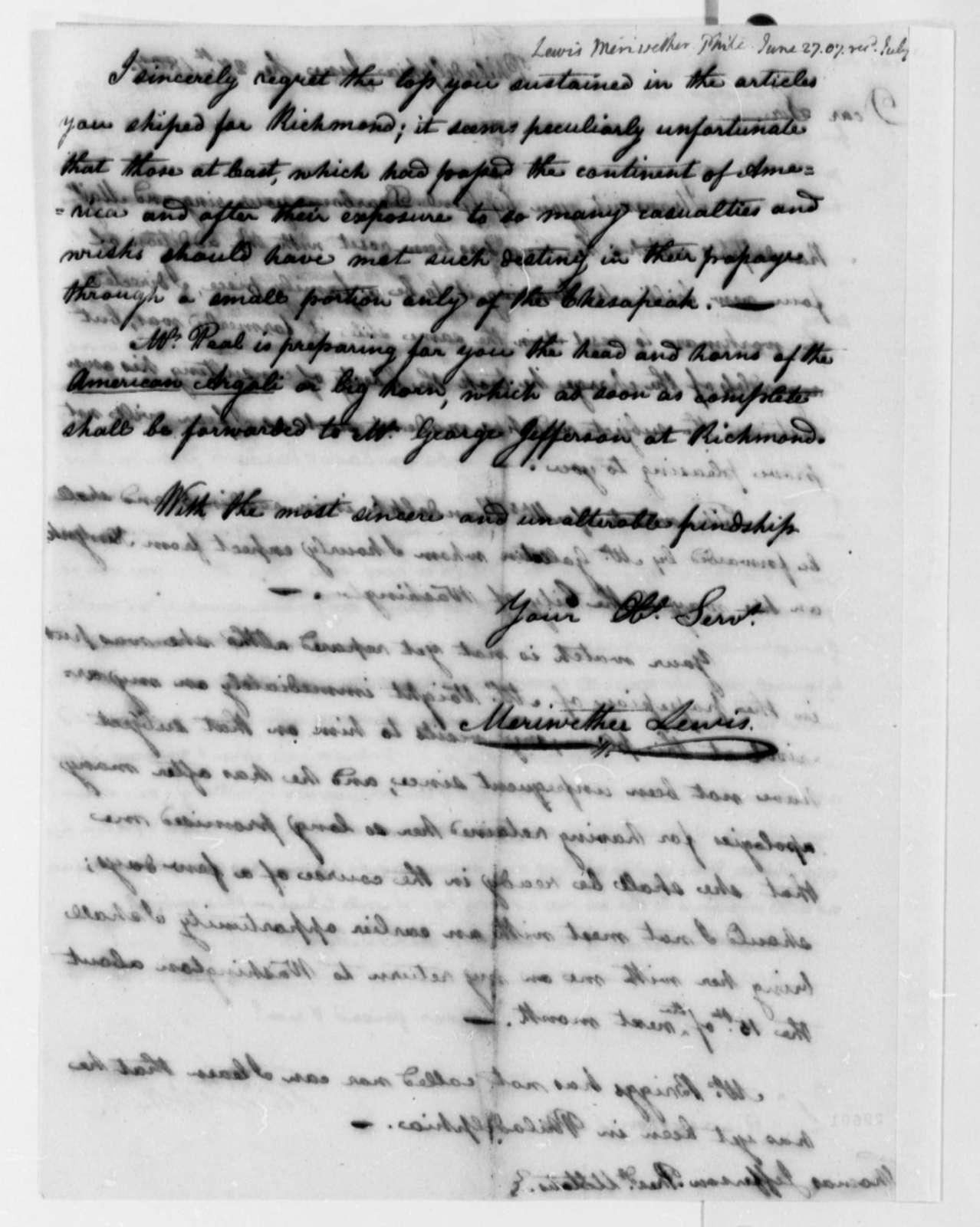 Meriwether Lewis to Thomas Jefferson, June 27, 1807