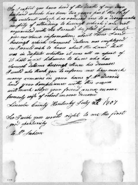 [Mrs.] Robert Moore to Andrew Jackson, July 22, 1807