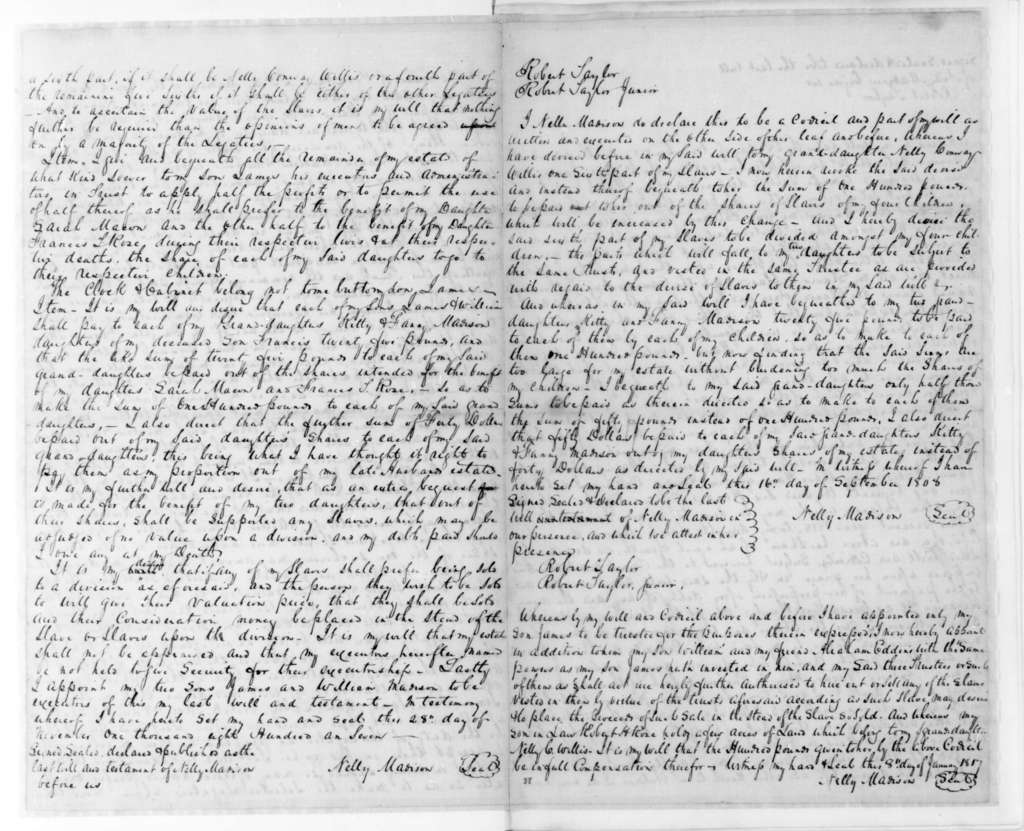 Nelly Madison, November 28, 1807. Copy of Nelly Madison's Will.