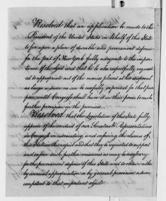 New York Legislature to Thomas Jefferson, March 20, 1807, Resolutions from John Broome