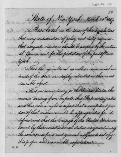 New York Legislature to Thomas Jefferson, March 20, 1807, Resolutions from John Broome