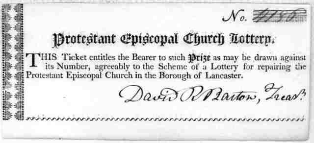 No. [4186] Protestant Episcopal Church lottery. This ticket entitles the bearer to such prize as may be drawn against its number, agreeably to the scheme of a lottery for repairing the Protestant Episcopal Church in the Borough of Lancaster. [Si