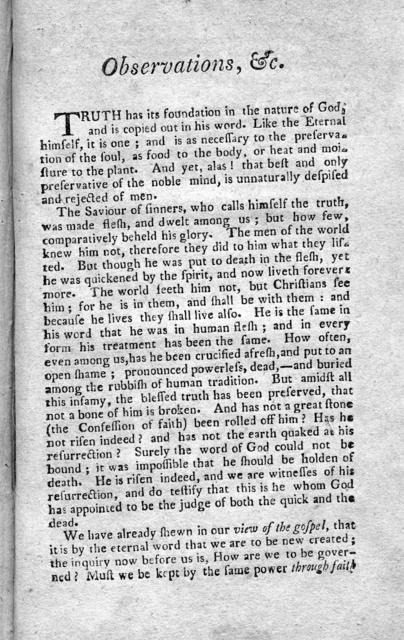 Observations on church government / by the Presbytery of Springfield ; to which is added the last will and testatment of that revered body with a preface and notes by the editor.