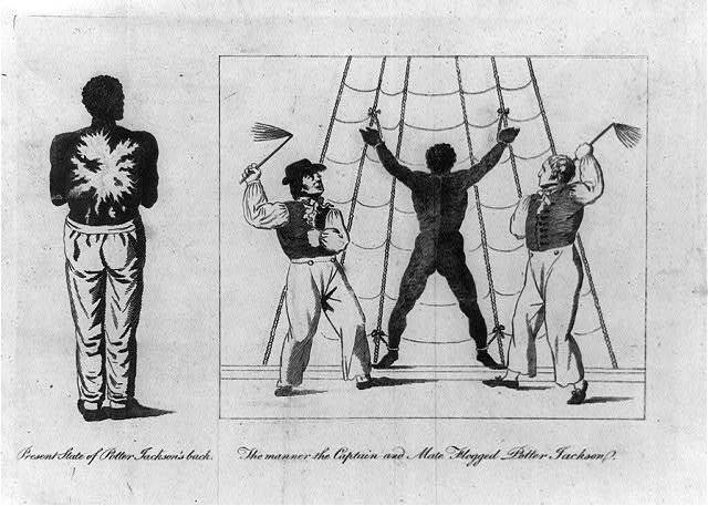 [Potter Jackson, a free black man who worked as a seaman, tied to riggings of ship and being whipped by the ship's captain and another man; and view of his back after beating]