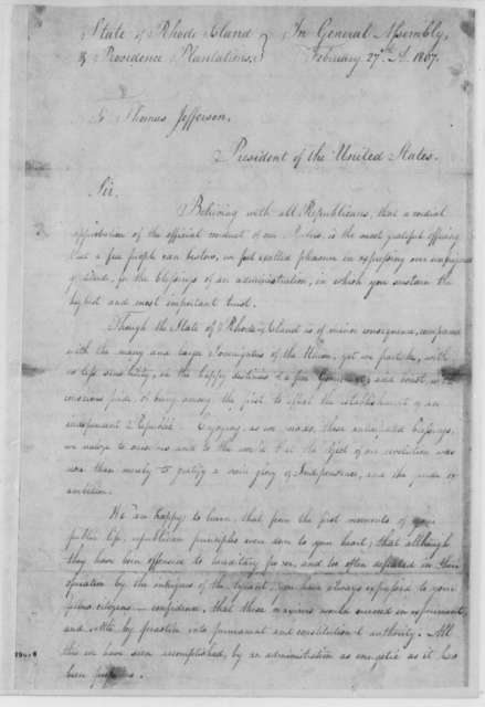 Rhode Island General Assembly to Thomas Jefferson, February 27, 1807