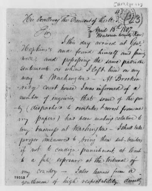 Robert Fraser to Thomas Jefferson, April 16, 1807