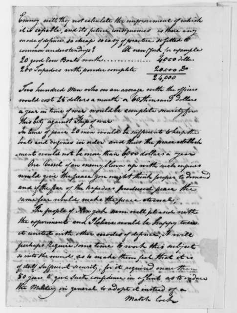 Robert Fulton to Thomas Jefferson, July 28, 1807, with Drawings
