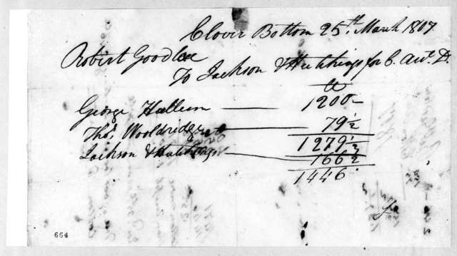 Robert Goodloe to Jackson & Hutchings, March 25, 1807