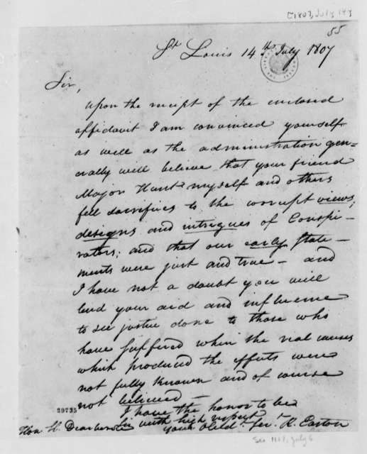Rufus Easton to Henry Dearborn, July 14, 1807, Introduction of Wilkinson's Conspiracy Statement