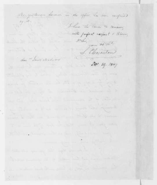 S. Pleasonton to James Madison, September 19, 1807.