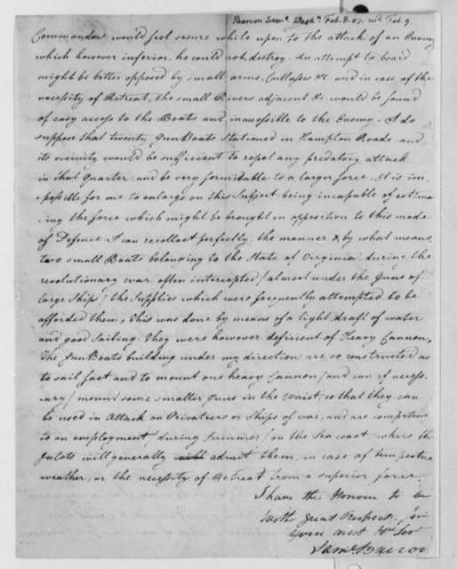 Samuel Barron to Thomas Jefferson, February 8, 1807