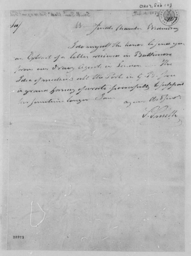 Samuel Smith to Thomas Jefferson, February 10, 1807