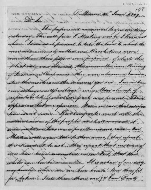 Samuel Smith to Thomas Jefferson, June 30, 1807