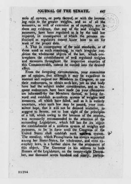 Senate, April 1, 1807, Printed Journal Extract with Revisions