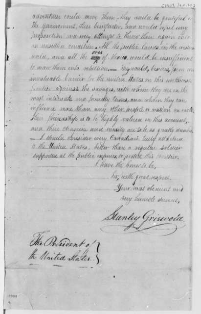 Stanley Griswold to Thomas Jefferson, January 30, 1807