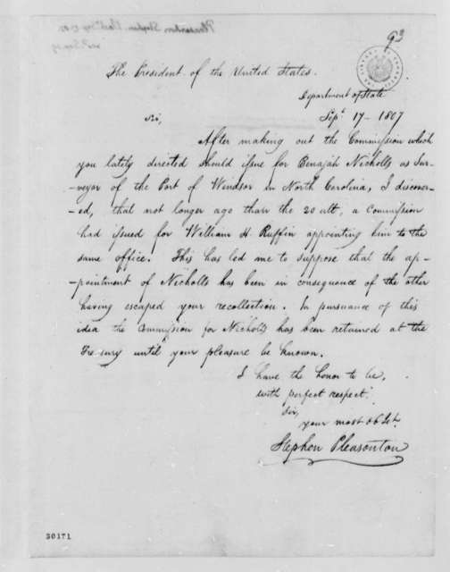 Stephen Pleasanton to Thomas Jefferson, September 17, 1807