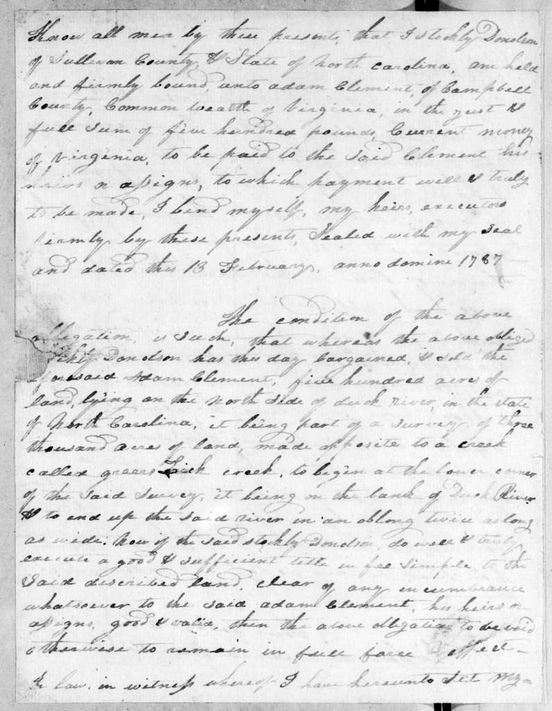 Stockley Donelson to Andrew Jackson, April 13, 1807