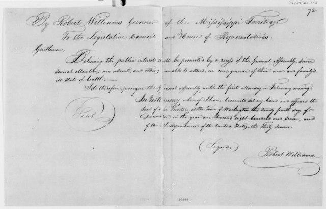 Thomas Fitzpatrick, et al to Robert Williams, December 24, 1807