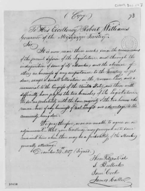 Thomas Fitzpatrick, et al to Williams, December 24, 1807, Mississippi Territory Legislature