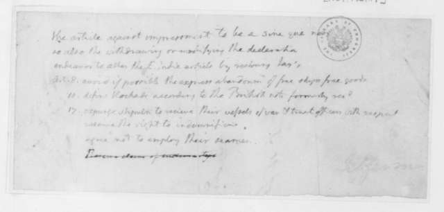 Thomas Jefferson, March 17, 1807. Notes on impressment, for a cabinet meeting.