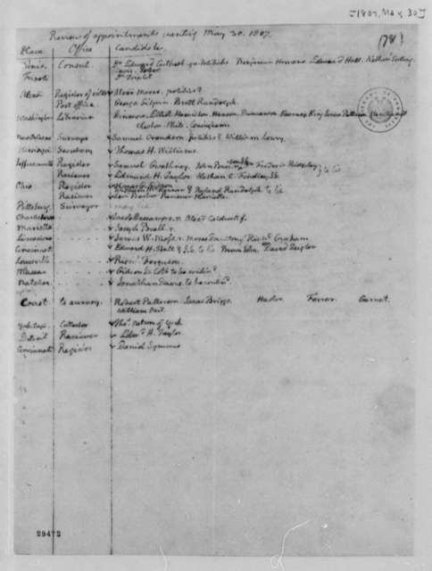 Thomas Jefferson, May 30, 1807, List of Appointments