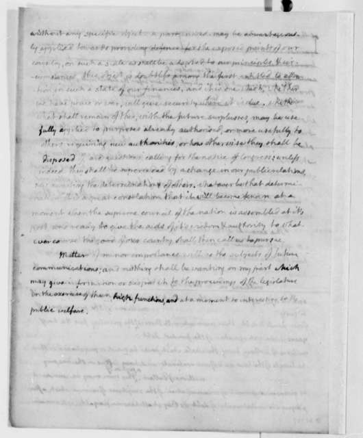 Thomas Jefferson, October 27, 1807, Annual Message, Second Draft with Extract Dated October 23, 1807