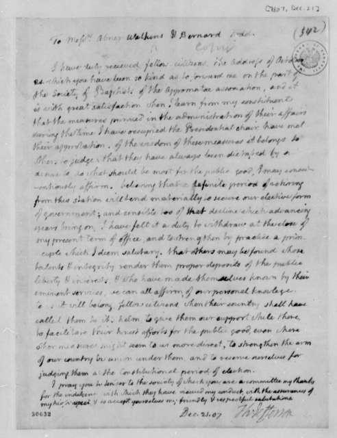 Thomas Jefferson to Abner Watkins and Todd Bernard, December 21, 1807