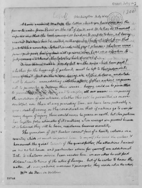 Thomas Jefferson to Anne L. G. N. Stael-Holstein, July 16, 1807