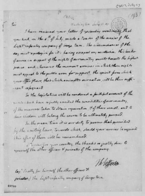 Thomas Jefferson to Beatty, et al, July 11, 1807
