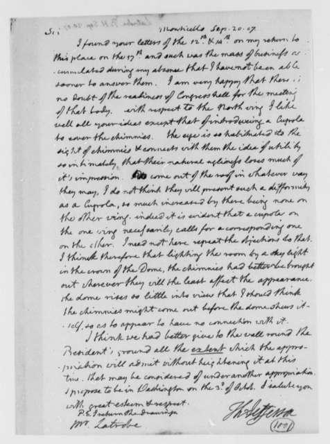 Thomas Jefferson to Benjamin H. Latrobe, Surveyor of the Public Buildings, September 20, 1807