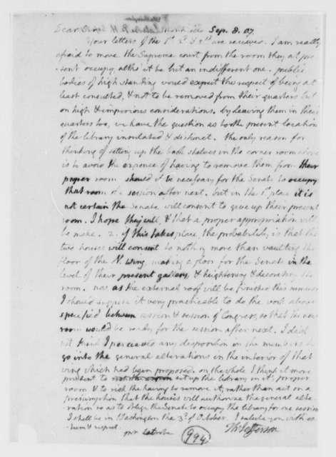 Thomas Jefferson to Benjamin H. Latrobe, Surveyor of the Public Buildings, September 8, 1807