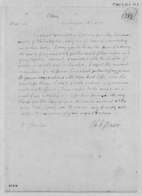 Thomas Jefferson to Benjamin Smith Barton, October 18, 1807