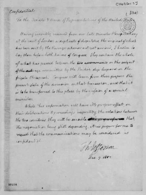 Thomas Jefferson to Congress, December 7, 1807, Notes