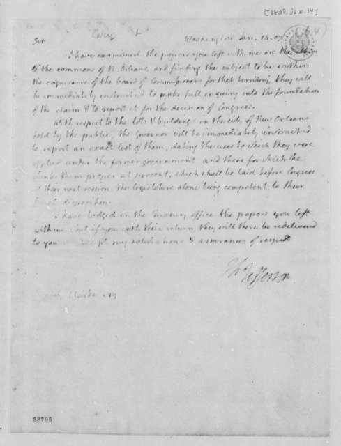 Thomas Jefferson to Daniel Clark, Jr., January 14, 1807