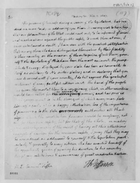 Thomas Jefferson to Edward Tiffin, February 2, 1807