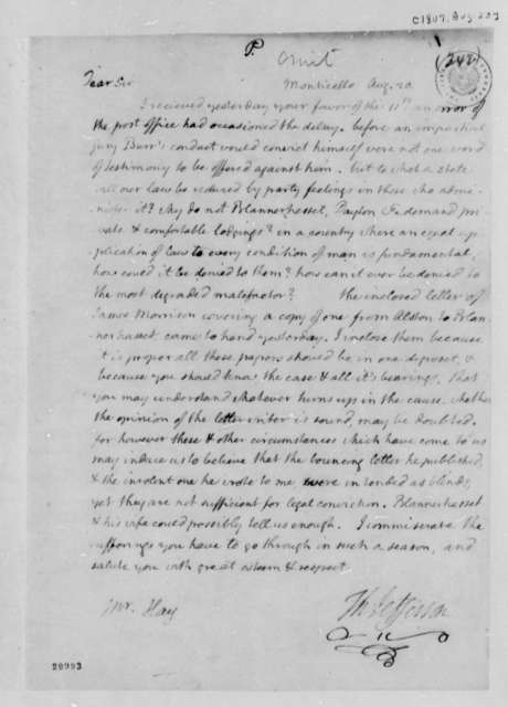 Thomas Jefferson to George Hay, August 20, 1807