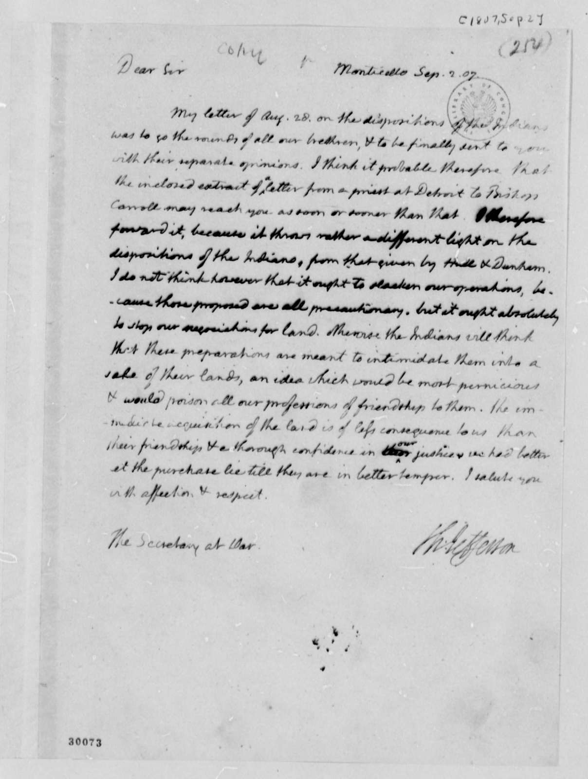 Thomas Jefferson to Henry Dearborn, September 2, 1807