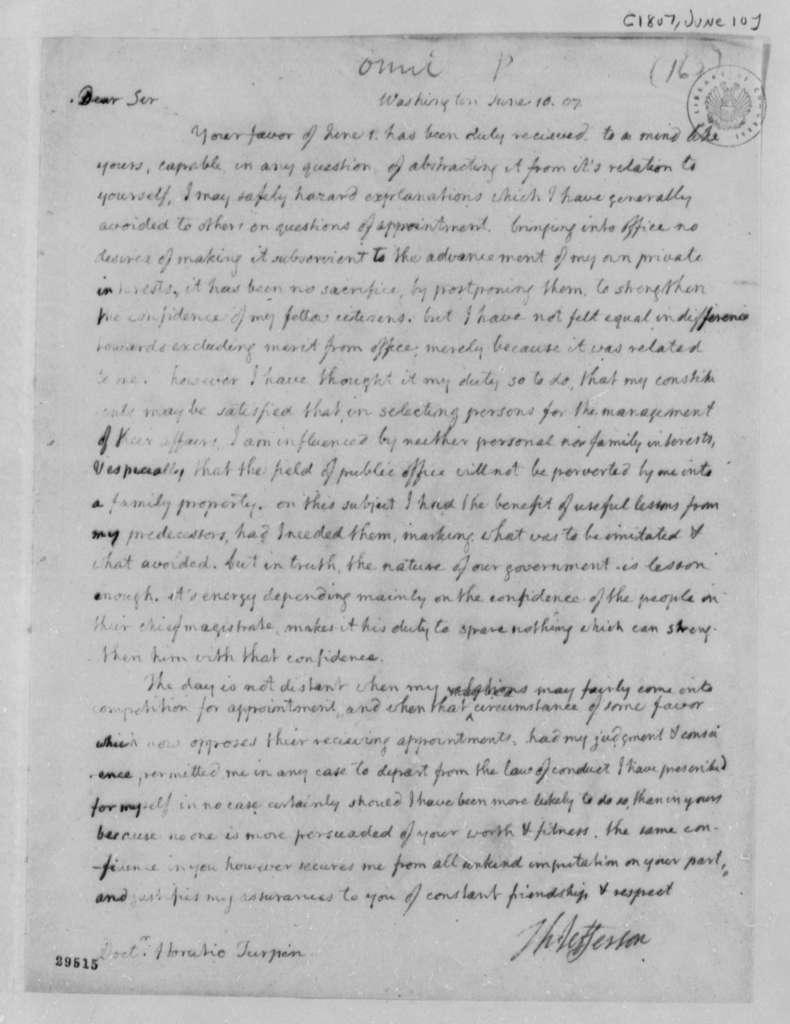 Thomas Jefferson to Horatio Turpin, June 10, 1807