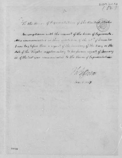 Thomas Jefferson to House of Representatives, January 5, 1807, Report