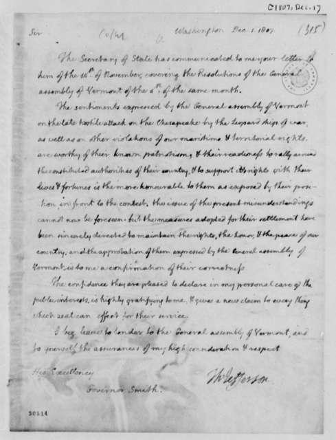 Thomas Jefferson to Israel Smith, December 1, 1807