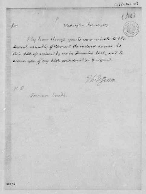 Thomas Jefferson to Israel Smith, December 10, 1807
