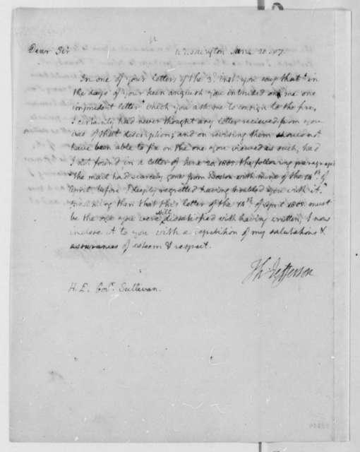 Thomas Jefferson to James Sullivan, June 20, 1807