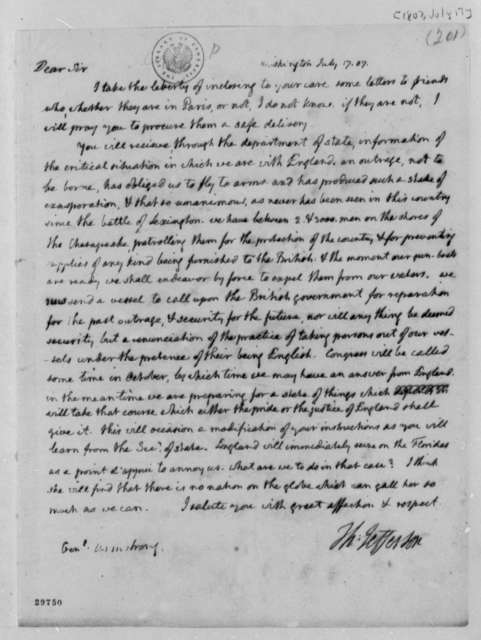 Thomas Jefferson to John Armstrong, July 17, 1807